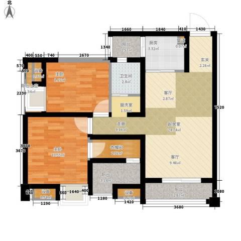 华欧理想城2室0厅1卫1厨98.00㎡户型图