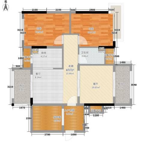 中源国际城2室1厅1卫1厨129.00㎡户型图