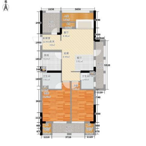 天阳云筑2室0厅2卫1厨90.00㎡户型图