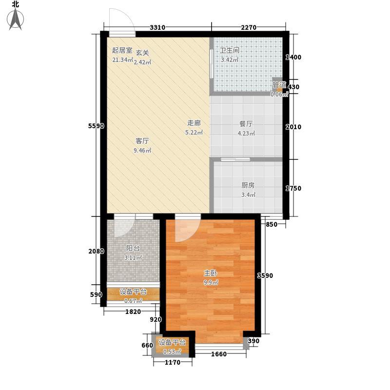 湾西湖54.57㎡38号楼K2户型1室2厅1卫1厨