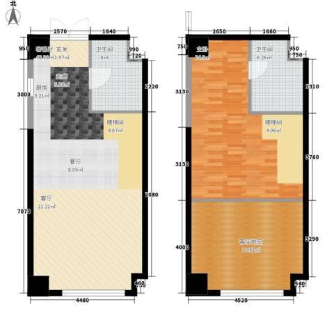海信・龙奥九号1室1厅2卫0厨96.73㎡户型图