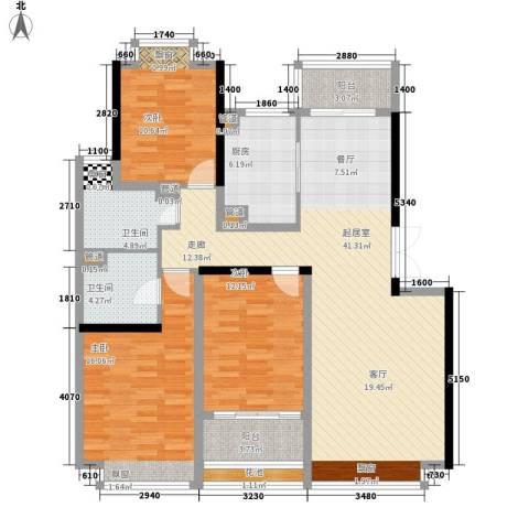 万达广场3室0厅2卫1厨151.00㎡户型图