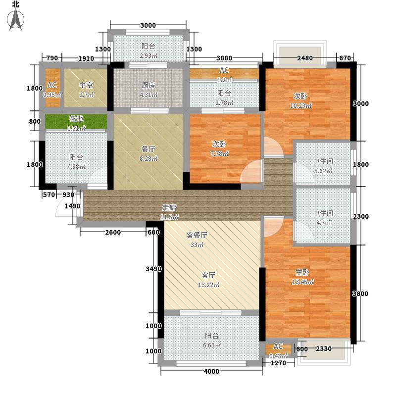 佰利・奥体城123.00㎡B-1户型3室2厅2卫