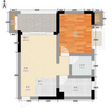 黄金堡宫1室1厅1卫1厨45.00㎡户型图