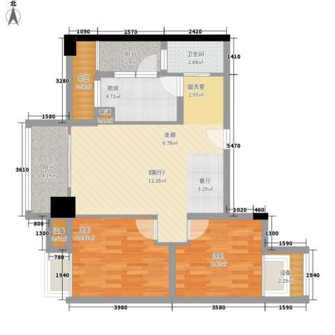 中航国际交流中心2室1厅1卫1厨79.00㎡户型图