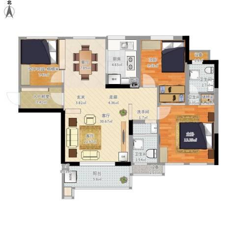 佳美紫郡2室1厅3卫1厨116.00㎡户型图