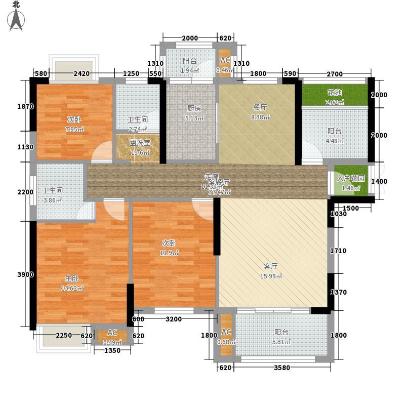 佰利・奥体城124.00㎡C-1户型3室2厅2卫