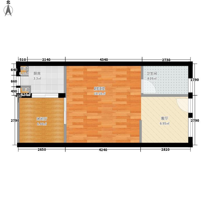银河谷48.50㎡一期一批次A1标准层户型1室1厅1卫1厨