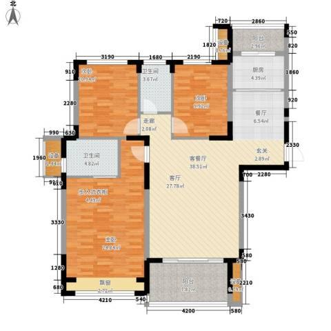 中州国际花园3室1厅2卫1厨126.00㎡户型图