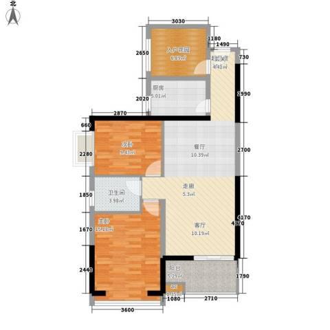连城别苑四期2室0厅1卫1厨76.43㎡户型图