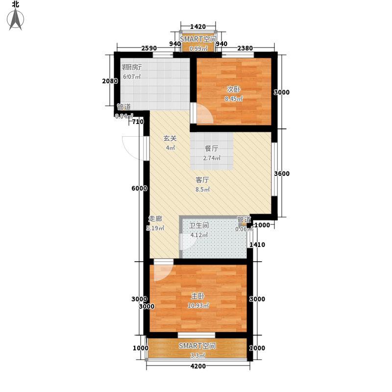 千翔尚城86.00㎡高层7#8#标准层E户型2室1厅1卫1厨