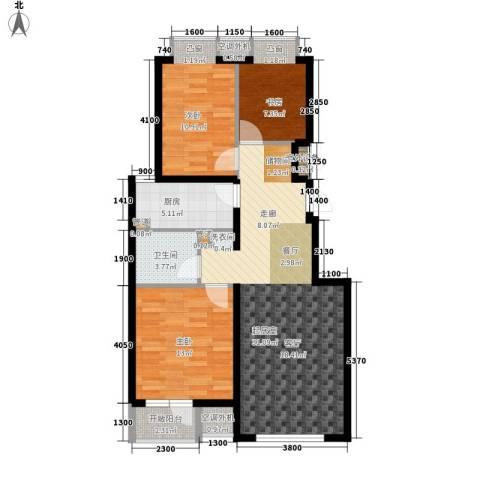 水电小区3室0厅1卫1厨108.00㎡户型图