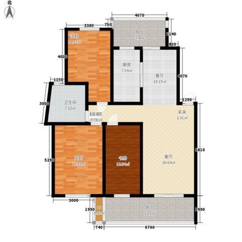 世纪城国际公馆三期3室0厅1卫1厨147.00㎡户型图