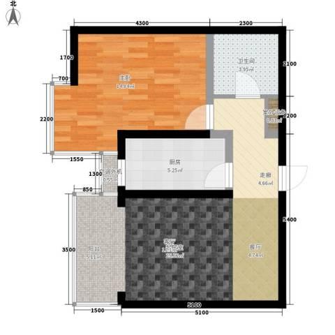 水电小区1室0厅1卫1厨72.00㎡户型图