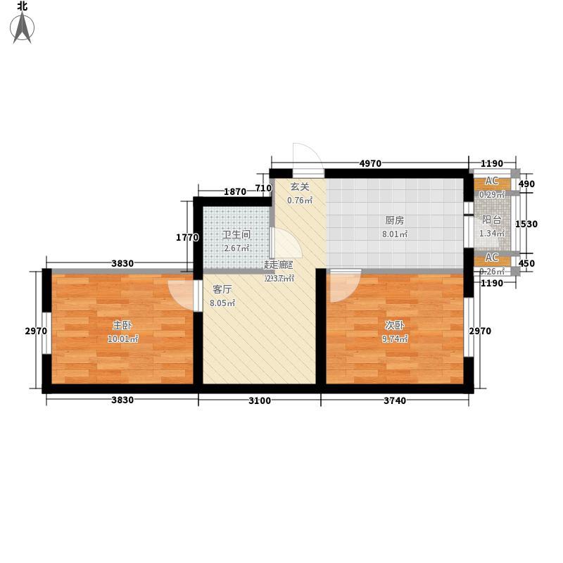 长禹嘉园一期:两室一厅50.18平方米户型2室1厅1卫