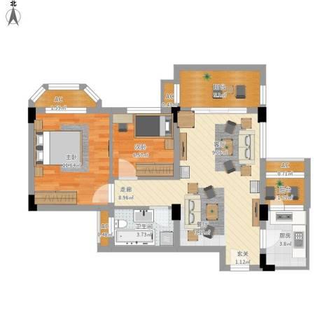 南沙碧桂园2室1厅1卫1厨86.00㎡户型图