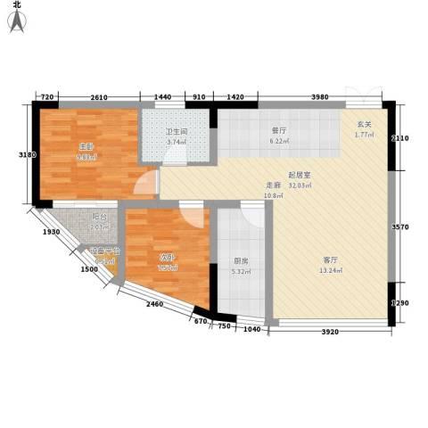 聚维书香世家2室0厅1卫1厨67.00㎡户型图