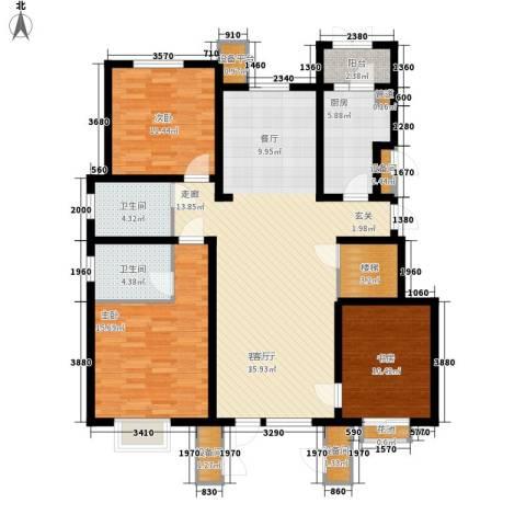 康城・瑞河兰乔3室1厅2卫1厨151.00㎡户型图