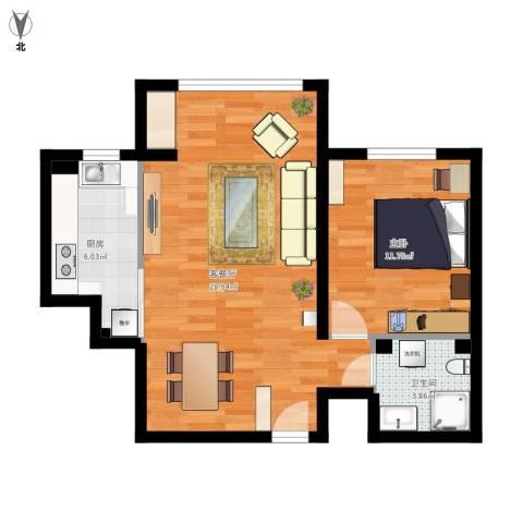 领秀新硅谷1室1厅1卫1厨72.00㎡户型图