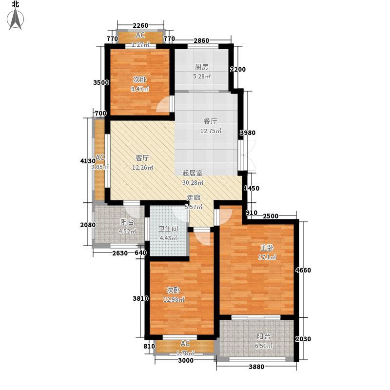 银河湾紫苑二期二期标准层A1户型3室2厅1卫