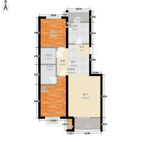 中国铁建绿港2室0厅2卫1厨72.25㎡户型图