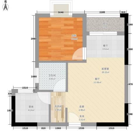 聚维书香世家1室0厅1卫1厨41.00㎡户型图