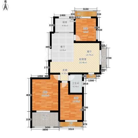 银河湾紫苑二期3室0厅1卫1厨137.00㎡户型图