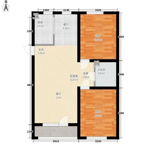泰荣湾2室0厅1卫1厨88.00㎡户型图