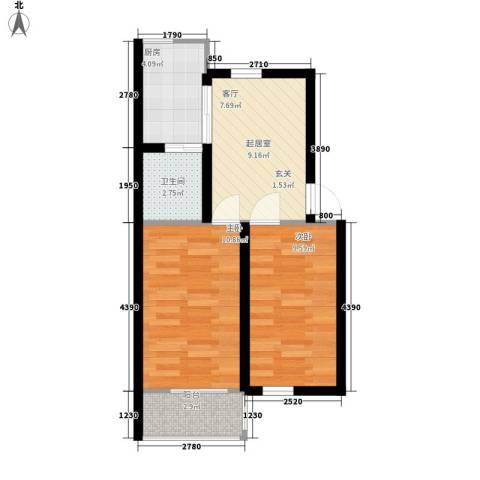 泰荣湾2室0厅1卫1厨57.00㎡户型图