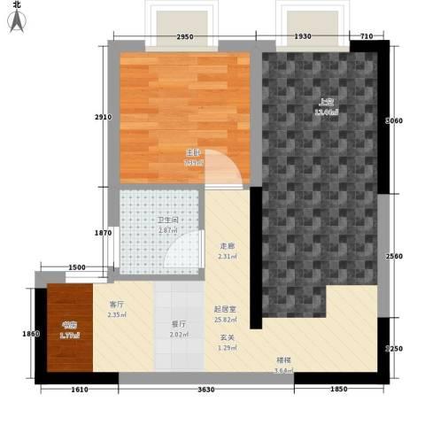 聚维书香世家1室0厅1卫0厨44.00㎡户型图