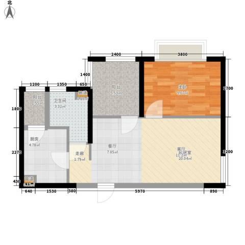 世纪城国际公馆三期1室0厅1卫1厨65.00㎡户型图