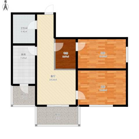 华远水木清华3室1厅1卫1厨102.00㎡户型图