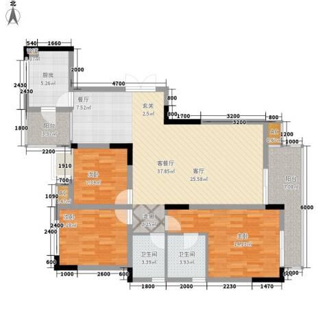 西城花园3室1厅2卫1厨112.00㎡户型图