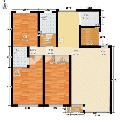 金海湾2期3室0厅2卫1厨128.00㎡户型图