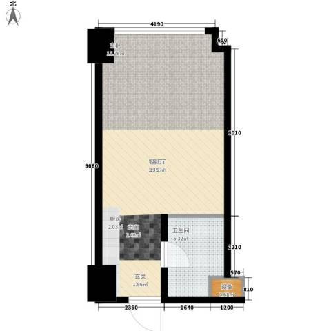 海信・龙奥九号1厅1卫0厨45.00㎡户型图