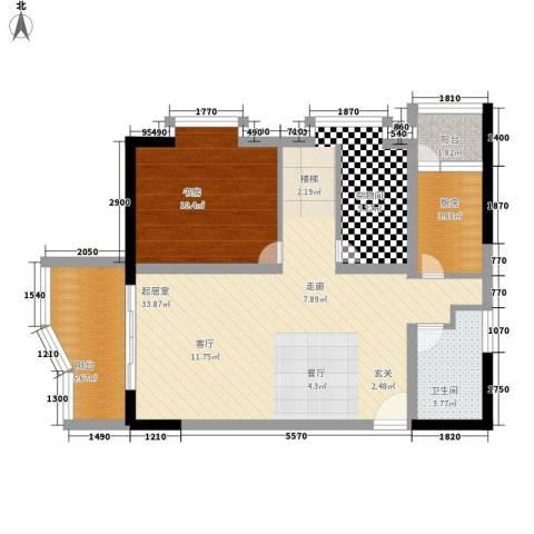 聚维书香世家1室0厅1卫1厨63.00㎡户型图