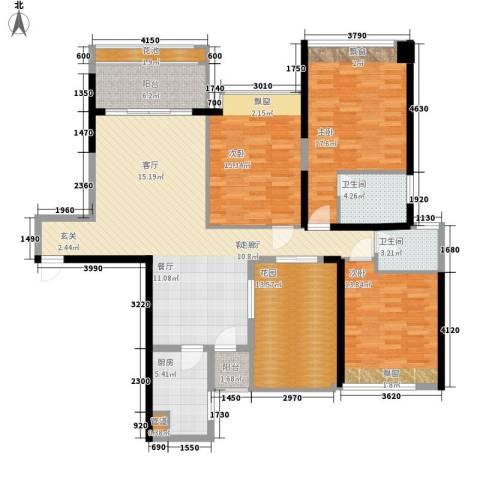 万江住宅3室1厅2卫1厨139.13㎡户型图