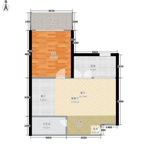 阳光山海湾1室1厅1卫1厨63.00㎡户型图