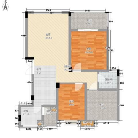 万江住宅2室1厅1卫1厨97.68㎡户型图