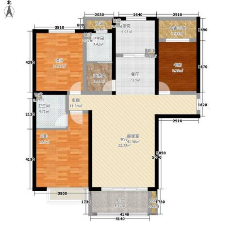 众诚五福苑3室0厅2卫1厨127.00㎡户型图