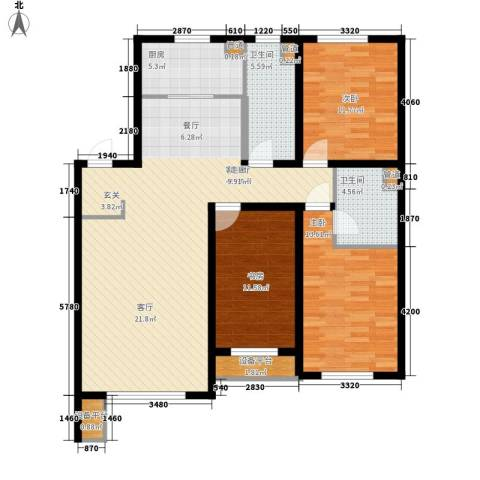 万科城3室1厅2卫1厨135.00㎡户型图