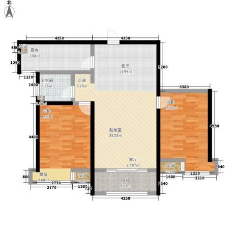 众诚五福苑2室0厅1卫1厨96.00㎡户型图