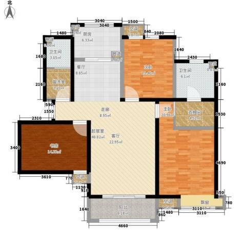 众诚五福苑3室0厅2卫1厨139.00㎡户型图