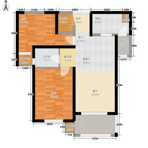 东方米兰国际城2室1厅1卫1厨87.00㎡户型图