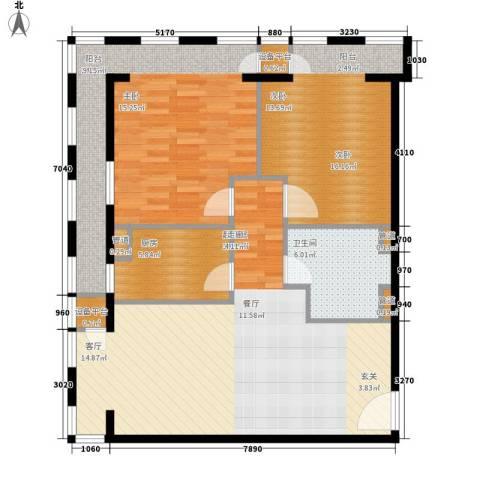 云鼎2室0厅1卫1厨99.00㎡户型图