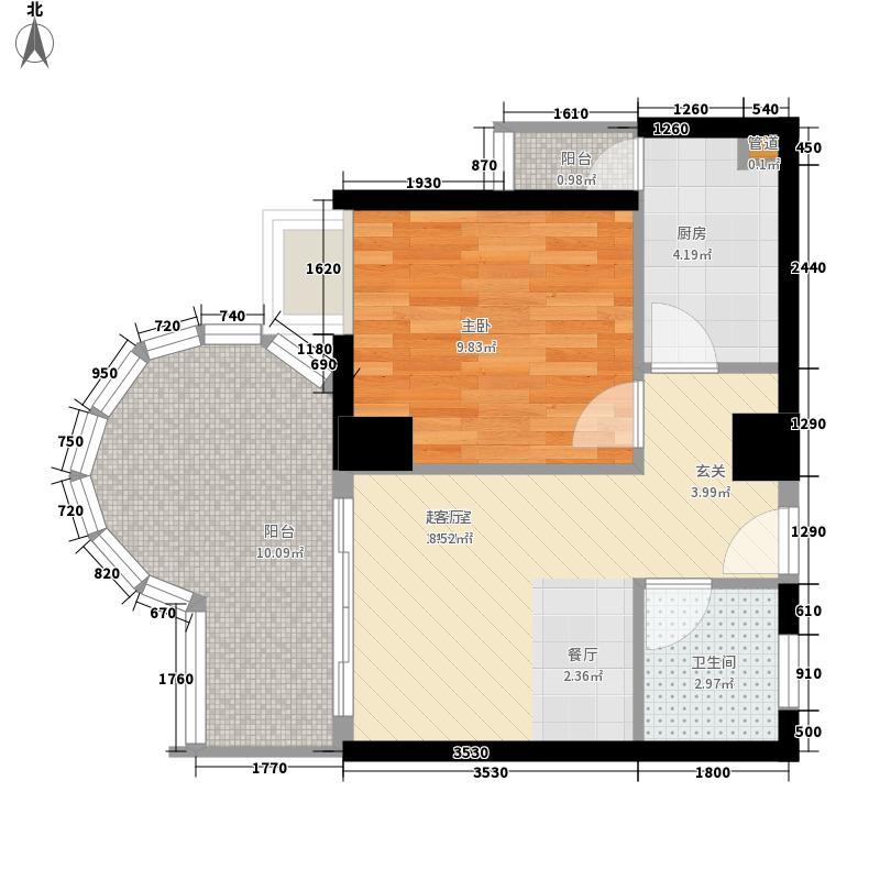 西香纪56.87㎡D型户型1室2厅1卫1厨