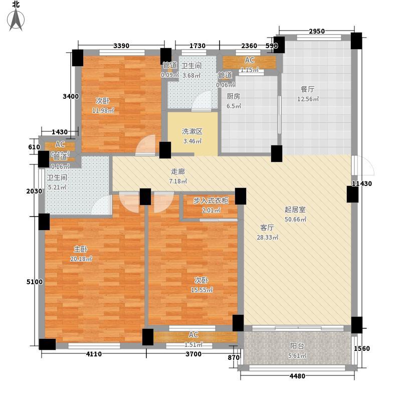 福泽东方13.00㎡D6户型3室2厅2卫1厨