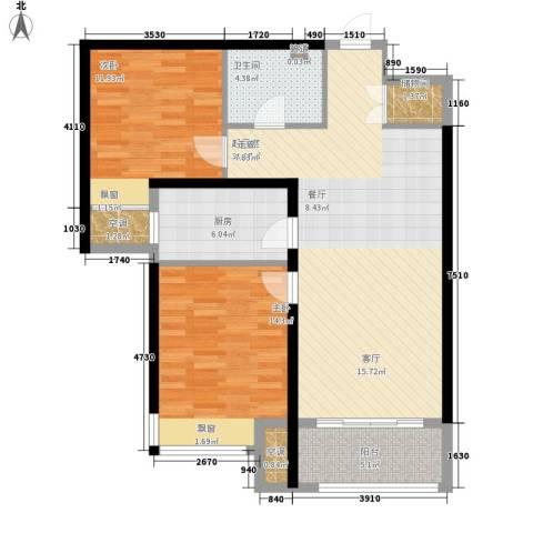 众诚五福苑2室0厅1卫1厨88.00㎡户型图