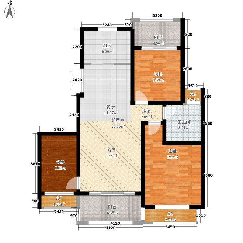 银河湾紫苑二期二期标准A3户型3室2厅1卫