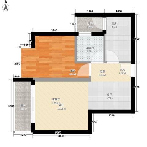 上河城1室1厅1卫1厨48.00㎡户型图